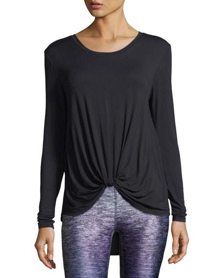 Image 1 of 2: Terez Twist-Front Long-Sleeve Jersey Top