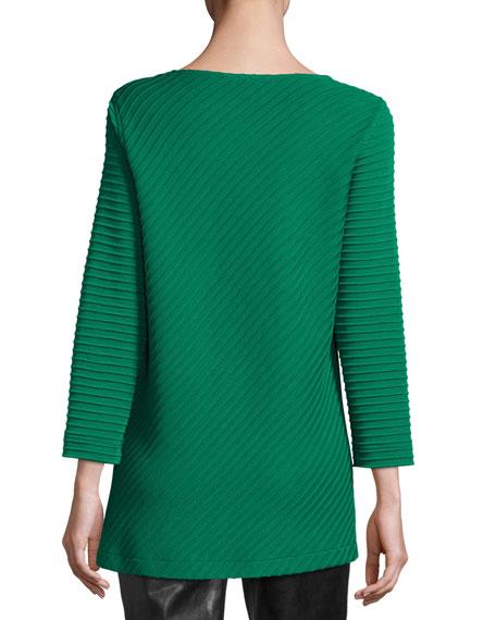 Ottoman Knit 3/4-Sleeve Tunic, Petite