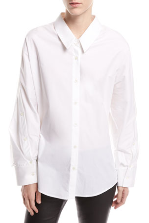 palmer//harding Mom Button-Front Long-Sleeve Poplin Shirt