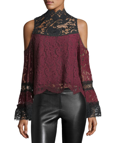 Lelia Cold-Shoulder Two-Tone Lace Top