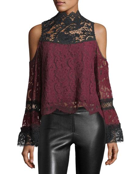 Nanette Lepore Lelia Cold-Shoulder Two-Tone Lace Top