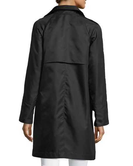 Jane Post Button-Front Long-Sleeve Twill Midi Rain Coat