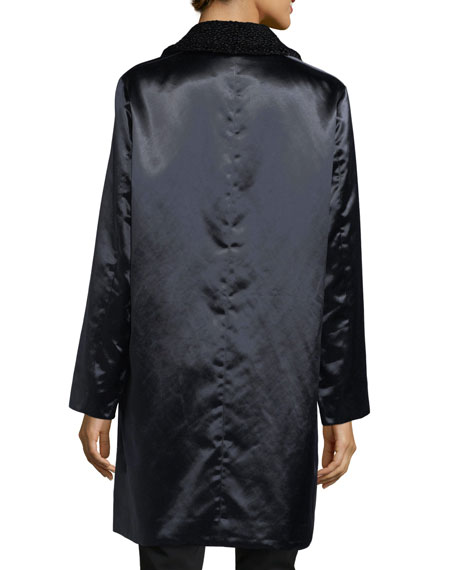 Button-Front Long-Sleeve Satin Overcoat