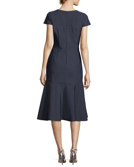 Bella Short-Sleeve Plunging V-Neck Tech Stretch Cocktail Dress
