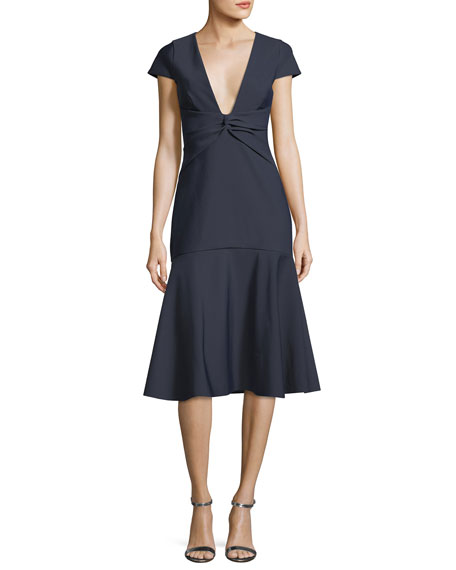 Milly Bella Short-Sleeve Plunging V-Neck Tech Stretch Cocktail