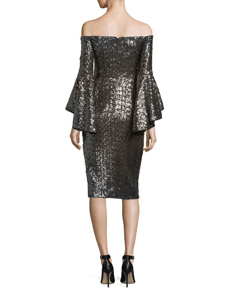 Selena Off-the-Shoulder Sequined Cocktail Dress