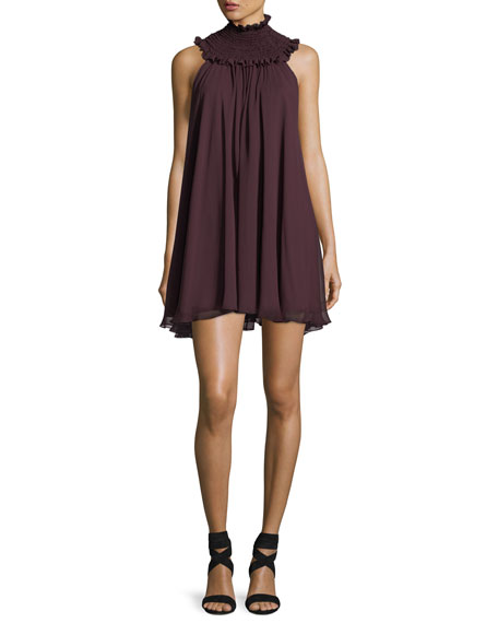 Caroline Constas Vicki Smoked-Neck Sleeveless Swing Dress