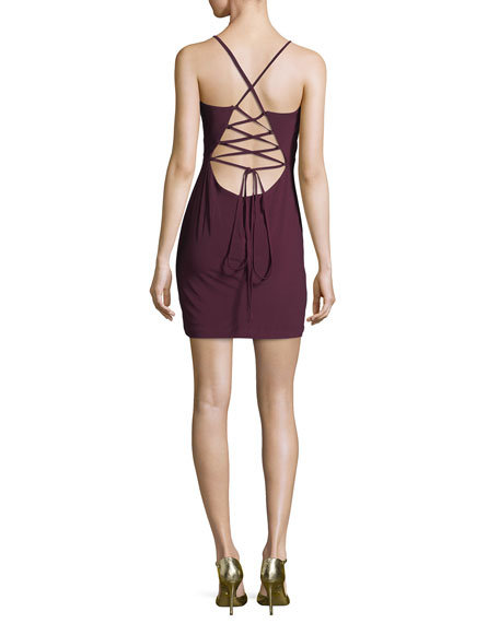 V-Neck Lace-Up Back Fitted Cocktail Mini Dress