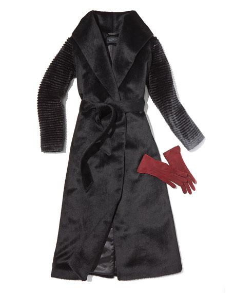 Sentaler Suri Alpaca Long Wrap Coat w/ Ribbed Sleeves