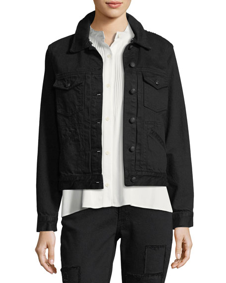Toby Classic Jean Jacket w/ Shearling Collar