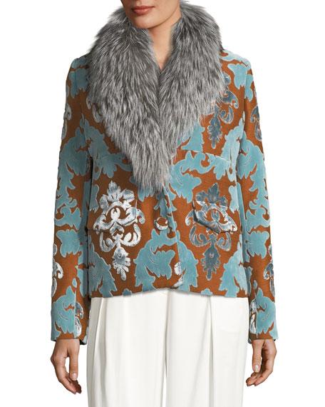Daise Velvet Damask Devoré Jacket w/ Fur Trim