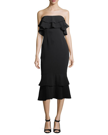cinq a sept Ezana Strapless Trumpet Cocktail Dress
