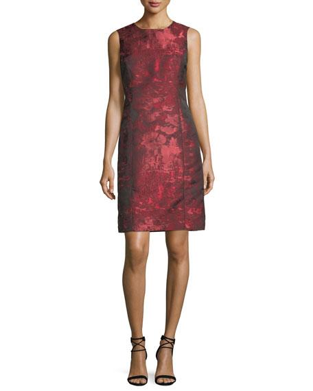 Sleeveless Jacquard A-line Dress w/ Matching Jacket