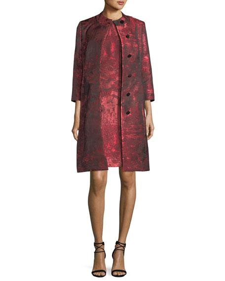 Albert Nipon Sleeveless Jacquard A-line Dress w/ Matching