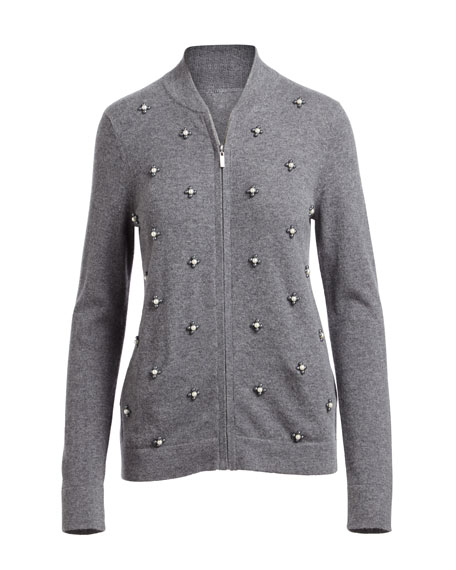 Cashmere Pearl-Embellished Zip-Front Cardigan
