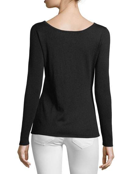 Silk-Cashmere Blend Sweater with Cut-Out Slits along Arms