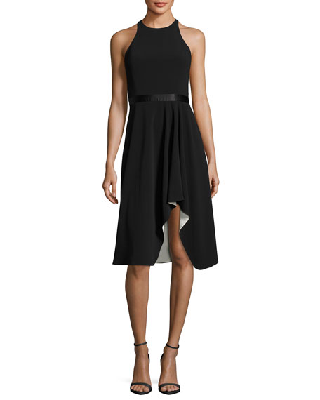 Halston Heritage High-Neck Flowy Skirt Cocktail Dress