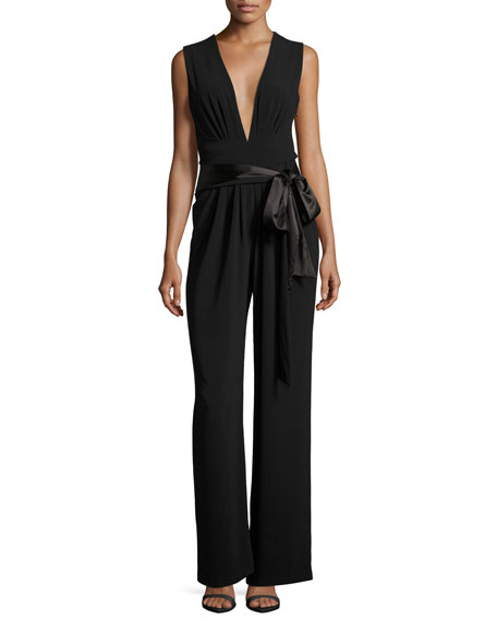 Halston Heritage Sleeveless Wide-Leg Plunging Jumpsuit w/ Satin