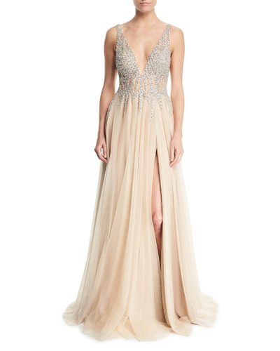 Sleeveless High-Slit Embellished Bodice Evening Gown