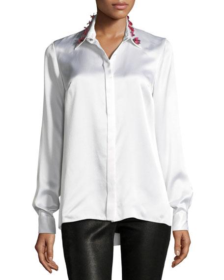 Elie Tahari Wren Embellished-Collar Silk Blouse