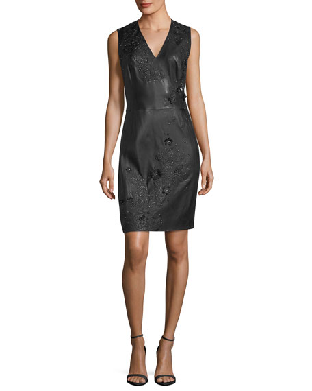 Roanna Leather Sheath Dress