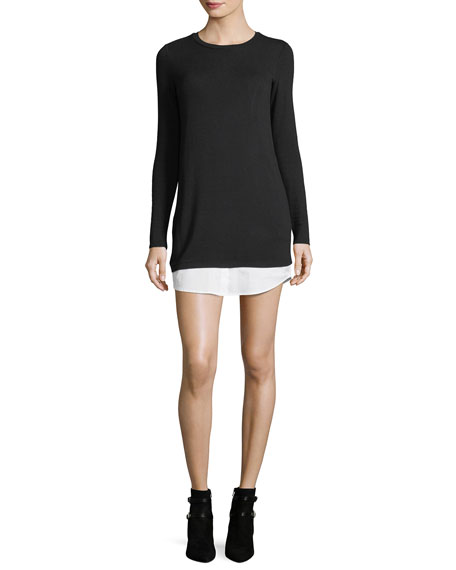 Cher Combo Sweater Tunic w/ Shirting