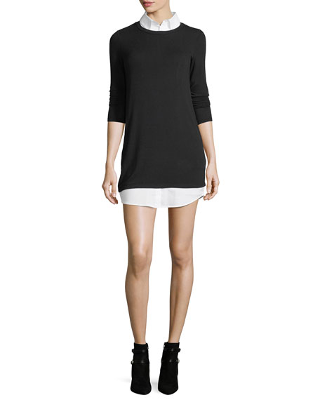 Bailey 44 Cher Combo Sweater Tunic w/ Shirting