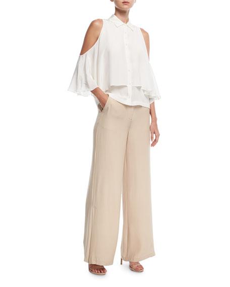 Wide-Leg Silk Pants w/ Slit Detail