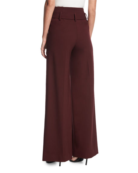 High-Waist Belted Wide-Leg Pants