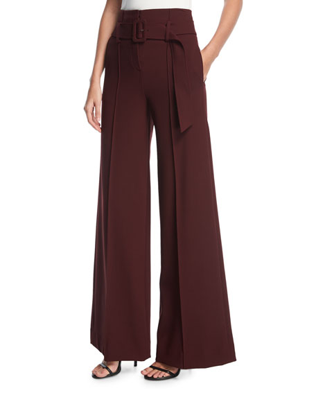 Theory High-Waist Belted Wide-Leg Pants