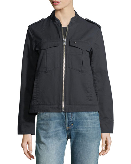 Kavy Zip-Front Long-Sleeve Woven Jacket