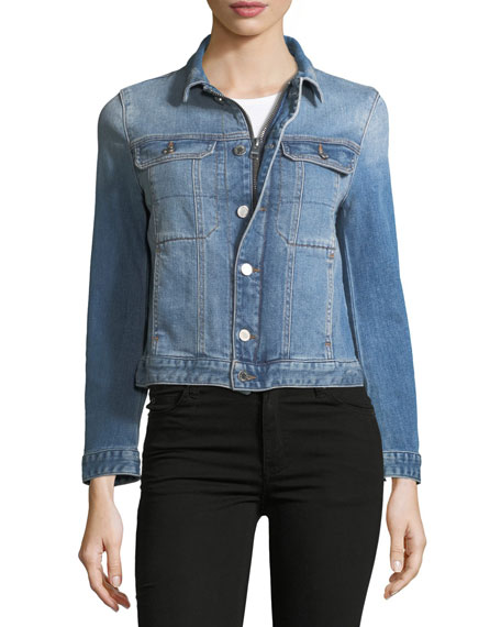 Kioky Button-Front Denim Jacket w/ Studded Trim