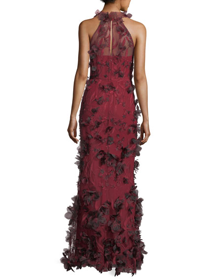 3D Floral Sleeveless Halter Evening Gown