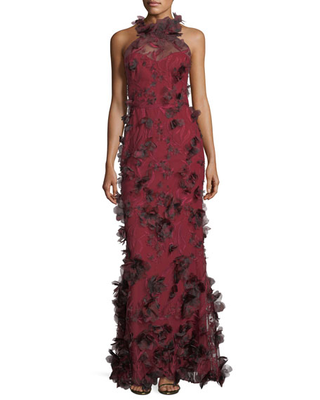 Marchesa notte 3d floral sleeveless halter evening gown neiman marchesa notte 3d floral sleeveless halter evening gown neiman marcus junglespirit Gallery