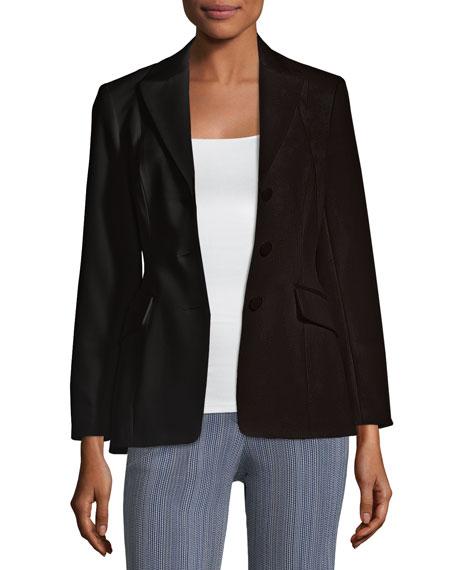 Peak-Lapel 3-Button Wool Riding Jacket