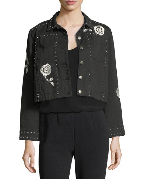 cinq a sept Fatima Button-Front Denim Jacket with