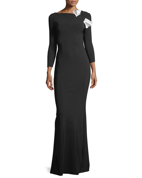 Chiara Boni La Petite Robe Sondra Asymmetric-Neck Long-Sleeve