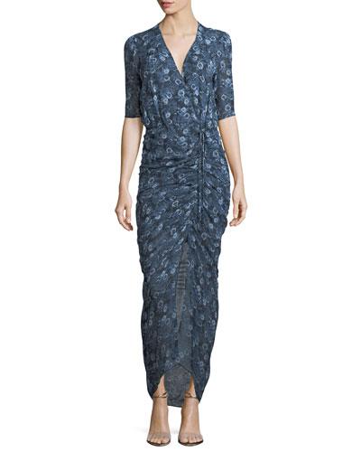 Mariposa Floral-Printed Silk Midi Dress