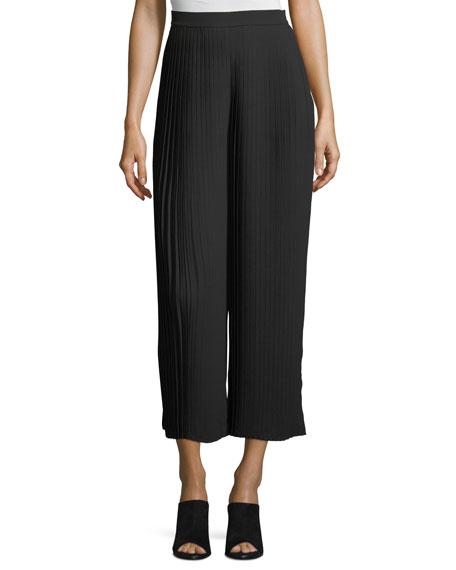 Eileen Fisher Knife-Pleated Wide-Leg Ankle Pants