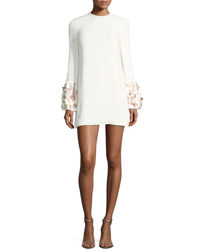 Bettina Embellished A-Line Crepe Dress