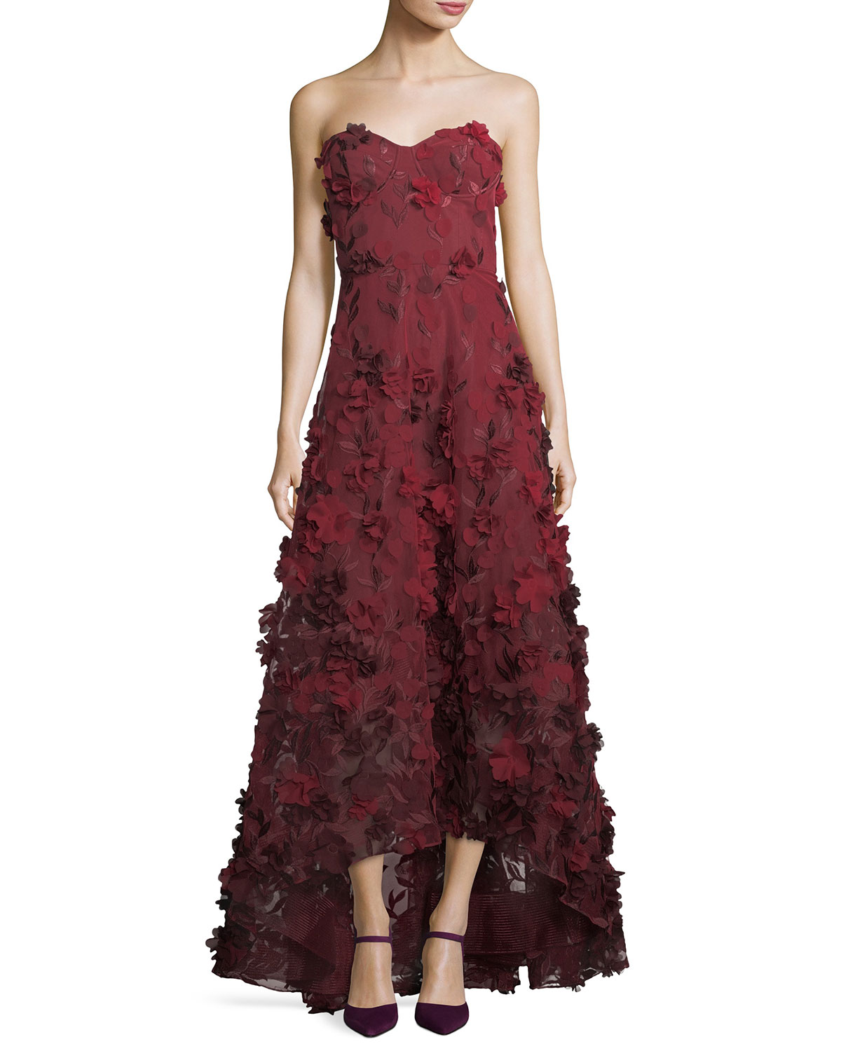 44a179d6a Marchesa Notte Strapless High-Low Floral Tulle Gown