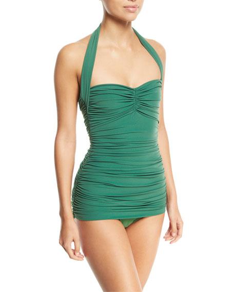 Norma Kamali Bill Mio Solid Shirred One-Piece Swimsuit