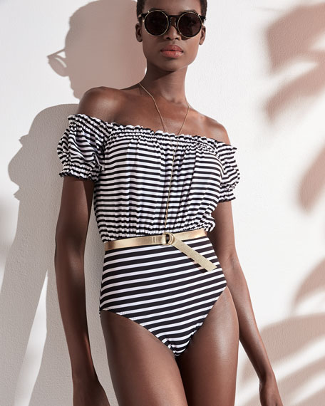 Jose Off-the-Shoulder Striped One-Piece Swimsuit