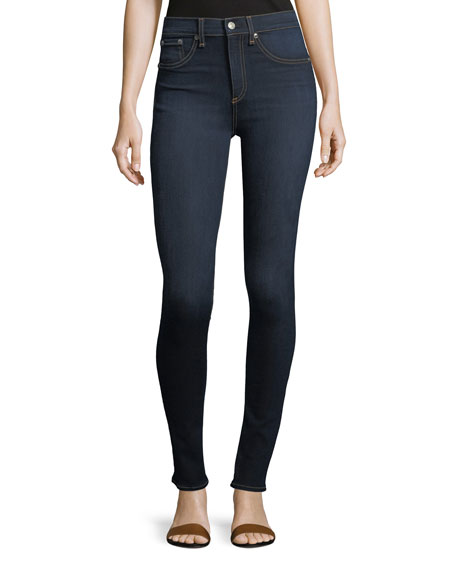 Image 1 of 3: High Rise Skinny Jeans, Dark Blue