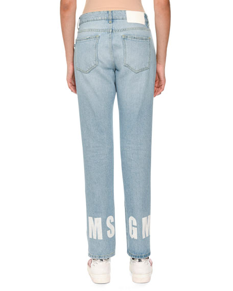 Straight-Leg Denim Logo Jeans