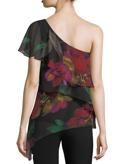 Dancer One-Shoulder Floral-Print Silk Top