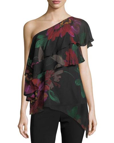 Dancer One-Shoulder Floral-Print Silk Top