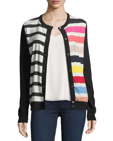 Cashmere Contrast-Stripe Cardigan