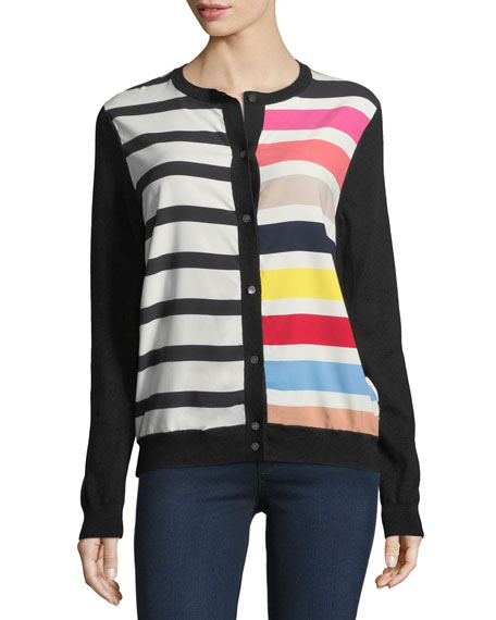 Neiman Marcus Cashmere Collection Cashmere Contrast-Stripe Cardigan