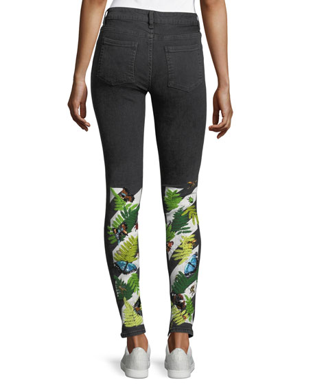 Skinny Jeans with Embroidered Graphic